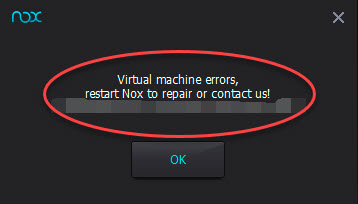 nox virtual machine error